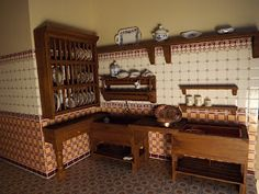 Late Victorian English Manor Dollhouse: Miniature from Scratch: Scullery Miniature Rooms, Miniature Kitchen, Miniature Furniture, Dollhouse Furniture, Dollhouse Interiors, Miniature Houses, Victorian Kitchen Sinks, English Manor, Mini Kitchen