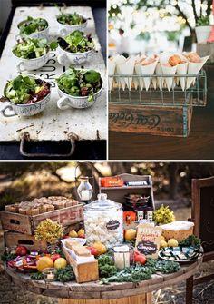 Hola a tod@s, Hoy os queremos enseñar ideas originales para presentar la comida en las bodas. Cada vez están más en auge los food corners o las mesas de un tipo de comida en concreto durante el coctel
