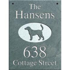 Hanging Slate Address Plaque 12 x 16, Labrador