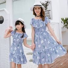 Cheap family matching, Buy Quality clothes family directly from China mom and daughter Suppliers: Family Matching Outfit Striped (Off Shoulder) Mother/Mom and Daughter Dresses Clothes Family Set Parent-Child Clothing Mom Daughter Matching Outfits, Matching Family Outfits, Boy Outfits, Dress Outfits, Family Pictures What To Wear, Short Sleeve Dresses, Lady, Casual, How To Wear