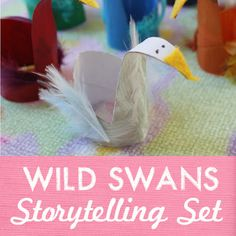 paper roll swans - so cute, easy to make and they are a great way to retell a story or just encourage pretend play with kids