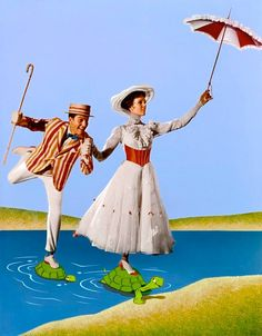 Julie Andrews as Mary Poppins and Dick Van Dyke as Bert in Mary Poppins a 1964 musical film starring Andrews, Van Dyke, David Tomlinson, and Glynis Johns, produced by Walt Disney, and based on the Mary Poppins books series by P. L. Travers.