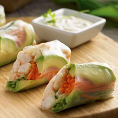 Spring Rolls All the flavors of a sushi roll are assembled easily in rice wrappers.All the flavors of a sushi roll are assembled easily in rice wrappers. Appetizer Recipes, Snack Recipes, Cooking Recipes, Healthy Recipes, Snacks, Sushi Recipes, Party Appetizers, Chef Recipes, Rice Wrappers