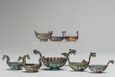 Marius Hammer of Bergen 1847-1927-  Norwegian eight piece Plique-A-Jour enamel silver Viking ship bowl. Mark found on the bottom M. Hammer, 930 Silver. SIZE: Biggest Vase Length 5.5 inches (14cm) Height: 2.5 inches (6.cm) Smallest Vase Length: 2 1/4 inches (5.5 cm) Height: 1 1/4 inches (3cm)