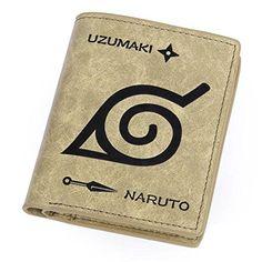 GodLand Uzumaki Naruto Personalized Bi-Folding Short Leather Wallets Khaki