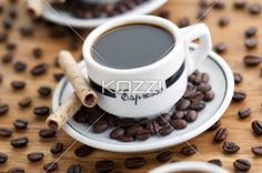 coffee cup and saucer with cookie stick - Coffee cup and saucer with cookie sticks for breakfast