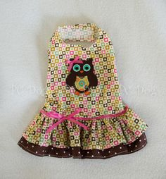 - Adorable Owl dress - This is very cute with our matching owl turtleneck - Narrow pink ribbon and bow at the waist - It easily attaches with adjustable velcro neck and belly straps - Open chest desig