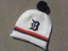 DETROIT TIGERS Hand Knit Baby Hat  Detroit by UpNorthKnitsAndGifts