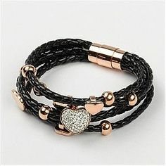 fashion bracelet, leather and metal