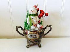 Christmas Diorama Snowman Bottle Brush Trees Vintage