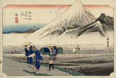 Hara -Mount Fuji in the Morning (Hara -asa no Fuji), from the series The Fifty-Three Stations of the Tokaido (Tōkaidō Gojūsan-tsugi) / Hiroshige (Japanese Ukiyo-e Printmaker, ca.1797 -1858)