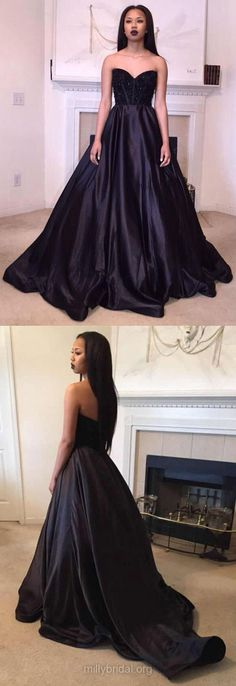 Black Prom Dresses Ball Gown, 2018 Prom Dresses For Teens, Sweetheart Formal Party Dresses Satin, Modest Evening Pageant Dresses Beading