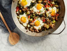 Hash is the ultimate cleaning-out-the-fridge meal because somehow, no matter what you throw in, it always tastes great. We like this one with sausage, peppers, onion and swiss chard, but as long as you've got …