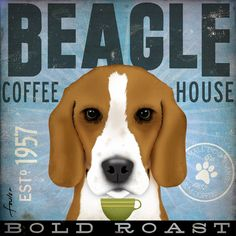 Beagle Coffee company artwork original illustration graphic art on 12 x 12 canvas by stephen fowler. $79,00, via Etsy.