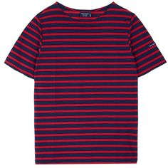 Saint-James 'Levant Moderne' stripe unisex T-shirt (225 PEN) ❤ liked on Polyvore featuring tops, t-shirts, shirts, blue shirt, blue stripe shirt, blue striped shirt, striped tee and blue t shirt