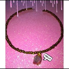 piNk cRyStal cHokEr✨ Golden beads with a pink Quartz that'll bring you unconditional lov ✨ Moongypsy Jewelry Necklaces