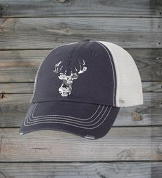 FRONT VIEW - Country Girl ® Grey Camo Deer Head Trucker Hat  #CountryGirl #CountryMusic #CountryLife