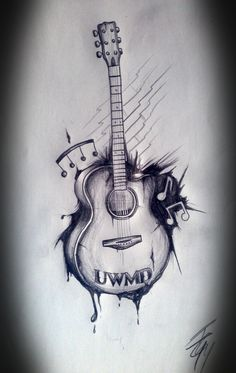 guitar tattoo with flowers - Google Search