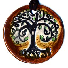 Tree Ceramic Necklace In Brown by surly on Etsy, $20.00