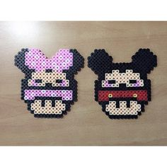 Minnie and Mickey mushroom perler beads by perlerbead_gsswagger