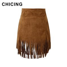 £: CHICING 2015 Revival Boho Suede Fringe Tassel Female Leather Bodycon Skirt Wrap High Waist Casual Ladies Hippie Saias A1507056