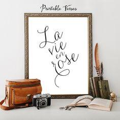 Calligraphy Art La vie en rose PRINTABLE QUOTE, Wall art, Home decoration, Calligraphy Art, Nursery decor, instant download printable art