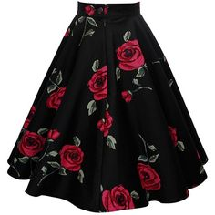 Black Butterfly Vintage Full Circle 1950's Floral Skirt at Amazon... ($25) ❤ liked on Polyvore featuring skirts, vintage circle skirt, butterfly skirt, circular skirt, vintage skirts and knee length circle skirt