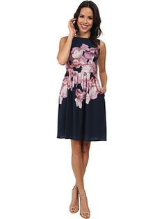Adrianna Papell Soft Gathered Skirt Placed Rose Print Dress
