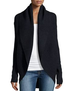 Wool-Blend Ribbed Circle Cardigan, Coastal by Vince at Neiman Marcus Last Call.
