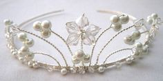 Nyssa - Swarovski Crystal and Pearl Tiara by Hint Of Elegance