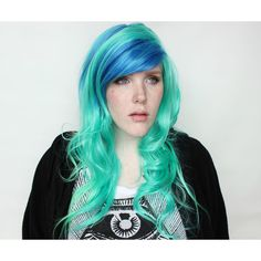 25 Off Green Wig Long Wavy Green Wig Blue Scene Wig Scene Emo Wig... ($104) ❤ liked on Polyvore featuring beauty products, haircare, hair styling tools, bath & beauty, grey, hair care, wigs, straightening iron, flat iron and curly hair care