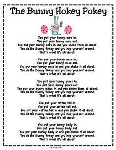 The Bunny Hokey Pokey Song/Poem Freebie.Get kids up and moving for fun Easter song/poem. Put in Poetry Binders! April Preschool, Preschool Music, Preschool Activities, Spring Songs For Preschool, Spring Songs For Kids, Spring Activities, Therapy Activities, Kids Crafts, Easter Activities For Preschool