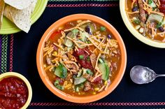 Vegan Tortilla Soup... my favorite soup recipe! Maybe with poblano peppers instead of bell peppers.
