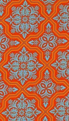 Orange and blue damask Motifs Textiles, Textile Patterns, Textile Prints, Textile Design, Fabric Design, Fabric Wallpaper, Pattern Wallpaper, Gold Wallpaper, Surface Pattern Design