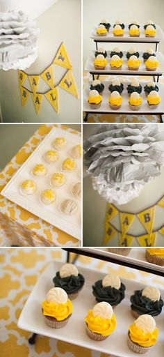 yellow, white, and gray baby shower sweets table