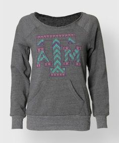 Check out this adorable Aztec Flashdance sweatshirt. The colors go so well together and the sweatshirt is perfect for a comfy, cozy day of studying!