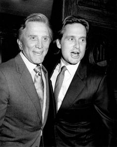 """Kirk and Michael Douglas, Chasen's Restaurant, Beverly Hills, 1983"" © Ron Galella / Staley-Wise Gallery New York"