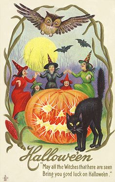 Vintage Halloween, witches, pumpkin, owl and cat