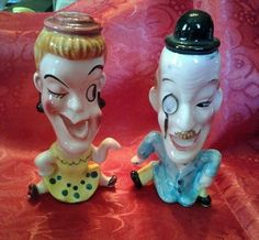 Vintage Salt and Pepper Shakers People w Big Heads Small Body