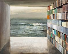 Book Shelter  original painting 2012  acrylic on wood panel- ready to hang  measures 11 x 14 inches  Jeremy Miranda