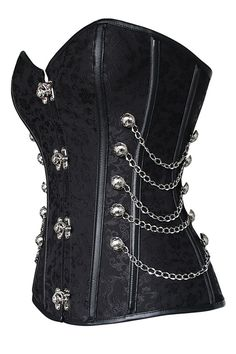 Have a little of the past and a little of the future fashion with our Atomic Black Brocade Steel Boned Steampunk Overbust Corset. Get it now: https://atomicjaneclothing.com/products/black-brocade-steampunk-corset-with-chains