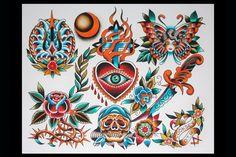 #scott #cooksey #tattoo #traditional tattoo #dallas tattoo #flash #dagger tattoo #sacred heart tattoo #skull tattoo #butterfly #rose #trident #waves #moon #lone #star #tattoo