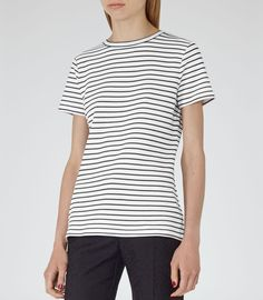 Womens White/black Striped Jersey T-shirt - Reiss Toulouse