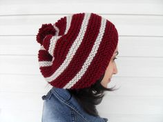Knitted Slouchy Hat Christmas Hat Burgundy Hat by SmilingKnitting, $29.00