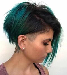 color Ideas in Hair Colors, ombre hair color ideas, green hairstyle design, blue hair color ideas , Bright Hair Colors, Ombre Hair Color, Hair Colours, Short Hair Cuts For Women, Short Hair Styles, Pelo Guay, Cheveux Courts Funky, Hair Dye Brands, Very Short Haircuts