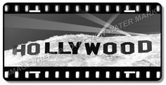 """HOLLYWOOD California Aluminum Vanity License Plate Tag  6"""" x 12"""" Brand New"""