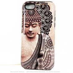 "Tan Paisley Buddha iPhone 5s SE TOUGH Case - Unique Buddhist Art ""Meditation Mehndi"" Zen Yoga iPhone 5s SE Case"