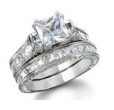 14K GOLD EP 3.8CT DIAMOND SIMULATED WEDDING SET RING 5