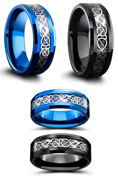 These mens celtic wedding rings come with free resizing and a lifetime warranrty. Crafted out of super durable tungsten carbide. These celtic rings have been inlaid with a carbon fiber inlay with a celtic design resting on top.