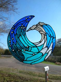Love Blue and the Ocean!  Ocean Wave Stained glass window Cling by windows2thesoul on Etsy, $8.00